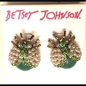 BETSEY JOHNSON Faux Pearl Stud Ladybug Earring